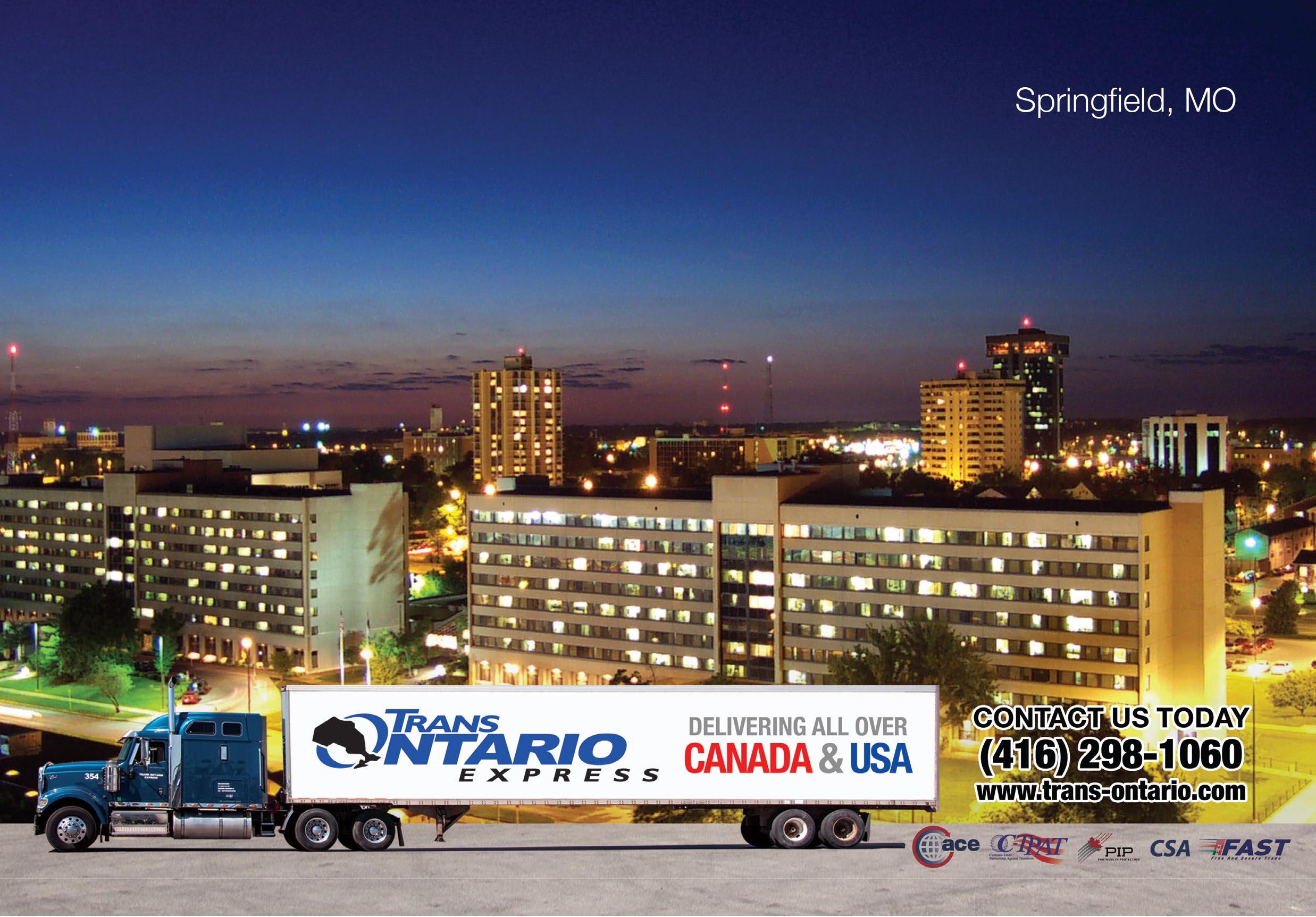 Toronto Canada Springfield Mo Shipping Trucking Freight